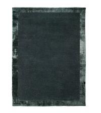 dunkelgrüner handgefertigter Teppich mit gemusterter Umrandung