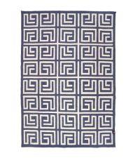 blauer Wollteppich mit geometrischem Labyrtinth-Muster