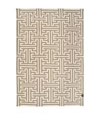 stilvoller Wollteppich mit weißer Labyrinth-Musterung, taupe