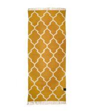 länglicher Baumwollteppich mit Muster und Fransen, honig-gold