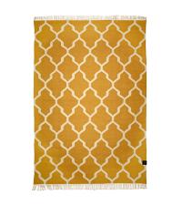 großer Baumwollteppich mit Muster und Fransen, honiggelb