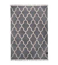 großer Baumwollteppich mit Muster und Fransen, grau