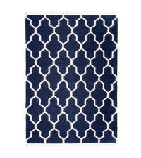 großer Baumwollteppich mit Muster und Fransen, dunkelblau