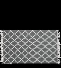 Webteppich aus Wolle mit geometrischem Muster & Fransen, dunkelgrau & weiß