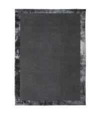dunkelgrauer handgefertigter Teppich mit schimmernder Umrandung in Velvet-Optik