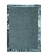 handgefertigter Teppich mit schimmernder Umrandung in Velvet-Optik, türkis-blau