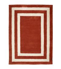 weicher Teppich mit geometrischem Muster, orange-rot