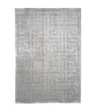 Teppich mit zartem, erhabenen geometrischen Muster, silber
