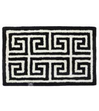 Schwarze Fußmatte mit geometrischem, weißen Mäander Muster aus PET-Garn