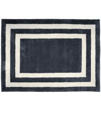 dunkelgraue Fußmatte aus PET-Garn mit weißen Linien