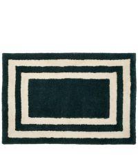 dunkelgrüne Fußmatte aus PET-Garn mit weißen Linien