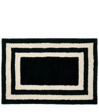 schwarze Fußmatte aus PET-Garn mit weißen Linien