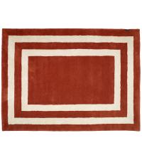 rote Fußmatte aus PET-Garn mit weißen Linien