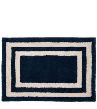 Dunkelblaue Fußmatte aus PET-Garn mit weißen Linien