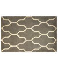 Graue Fußmatte mit geometrischem geschwungenem Muster aus PET-Garn