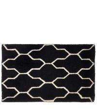 schwarze Fußmatte mit geometrischem geschwungenen Muster aus PET-Garn
