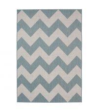 Teppich aus flachgewebtem Kunststoff mit geometrischem Zickzack Muster in cremeweiß und hellblau