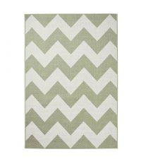 Teppich aus flachgewebtem Kunststoff mit geometrischem Zickzack Muster in cremeweiß und olivgrün