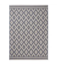Teppich mit geometrischem Muster im Ethno Stil, anthrazit und sandfarben