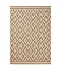 Teppich mit geometrischem Muster im Ethno Stil, braun und sandfarben