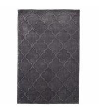 eleganter Teppich aus Acrylstoff, von Hand getuftet mit einem zarten Trellis Muster, dunkelgrau