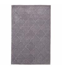 eleganter Teppich aus Acrylstoff, von Hand getuftet mit einem zarten Trellis Muster, grau