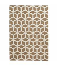 handgetufteter Teppich aus Acrylstoff mit spannendem geometrischen Muster in beige und cremefarben