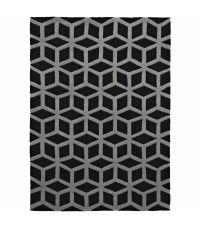 handgetufteter Teppich aus Acrylstoff mit spannendem geometrischen Muster in schwarz und grau