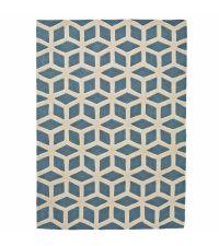 handgetufteter Teppich aus Acrylstoff mit spannendem geometrischen Muster in blau und cremefarben