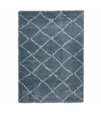 kuscheliger, meeresblauer Teppich aus feinem Garn mit cremefarbenen Linien