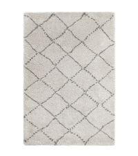 kuscheliger, hellgrauer Teppich aus feinem Garn mit dunkelgrauen Linien