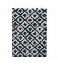 weicher Teppich aus feinem Garn mit geometrischem, linierten Muster, dunkelblau und cremefarben