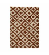 weicher Teppich aus feinem Garn mit geometrischem, linierten Muster, kupfer und beige 160 x 220 cm