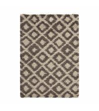 weicher Teppich aus feinem Garn mit geometrischem, linierten Muster, braun und beige