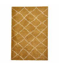 kuscheliger, honiggoldener Teppich aus feinem Garn mit beigen Linien