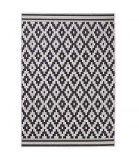 Teppich mit geometrischem Muster im Ethno Stil, schwarz und sandfarben