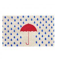 farbenfrohe Fußmatte mit rotem Regenschirm Motiv und Regentropfen
