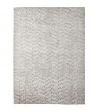 handgefertigter Baumwoll-Teppich mit High & Low-Effekt, hellgrau, Geo-Muster