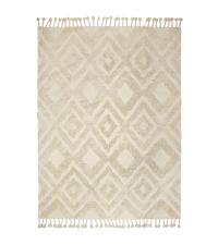 heller Teppich mit Fransen und zartem geometrischen Muster, weiß