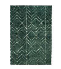 grüner Wollteppich mit Zick-Zack-Muster, geometrisch, handgefertigt