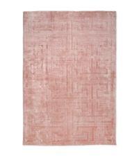 samtiger Teppich in strahlendem Rosa mit geometrischer Musterung