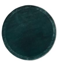 samtiger, runder Teppich in strahlendem Tannengrün