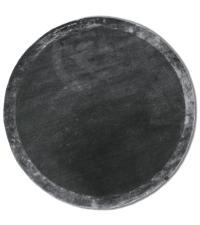 samtiger, runder Teppich in strahlendem Dunkelgrau