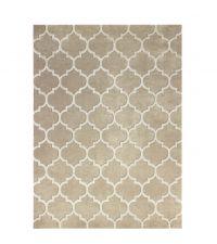 weicher Kunstfaser-Teppich mit geometrischem Trellis-Muster, beige 120 x 180 cm