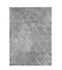 Kunstfaser-Teppich mit Trellis-Muster, grau