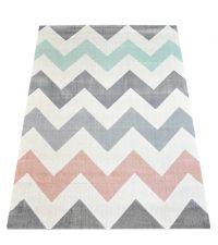großer Teppich mit großem Zickzack-Muster in hellgrau, rosa, mint und weiß