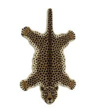 Teppich aus Wolle in Leoparden-Form, beige/schwarz