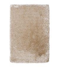 schimmernder Hochflor Teppich mit unterschiedlich starken Fasern, handgetuftet beige
