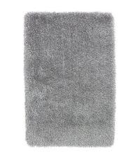 Hochflorteppich mit unterschiedlich hohen, schimmernden & matten Fasern, handgetuftet silber