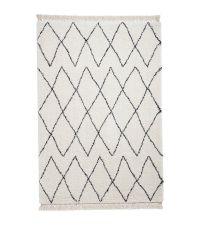 flauschiger Hochflor Teppich im Skandi-Style mit schwarzem Rautenmuster & Fransen, cremeweiß